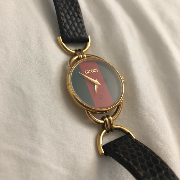 74a509b57e4 Gucci Jewelry - Ladies  Vintage Gucci Watch Red Green Face   Black